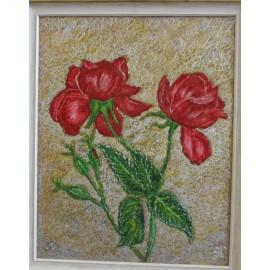 Obraz - Maľba na sklo -Ruže - Ing. Irena Kijacová