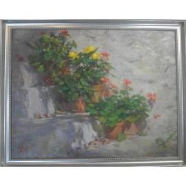 Obraz - Olejomaľba na plátne - Kvety na schodoch - akad. mal. Timour Karimov
