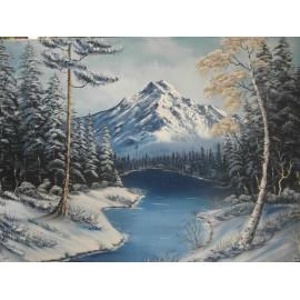 Obraz-Olejomaľba- Zima 12 XII. - Lupčo Ján