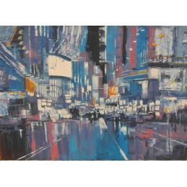 Obraz - Olejomaľba na plátne - Nočné mesto 2 - Gregory Goy