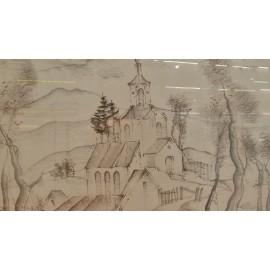 Obraz- Kostolík na kopčeku - Akad. mal. Johanides Milan