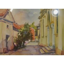 Obraz - Akvarel - Vo dvore synagógy v Prešove - Mgr. Margita Rešovská