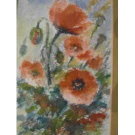 Obraz - Akvarel - Maky v poli - Mária Lenárdová