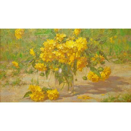 Obraz - Olejomaľba - Žlté kvety - akad. mal. Timour Karimov