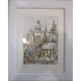 Obraz - Akvarel- Prvý sneh v Košiciach č.93- Mária Lenárdová