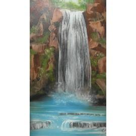 Obraz - Olejomaľba na plátne - Vodopád - PhDr. Katarína Semanová