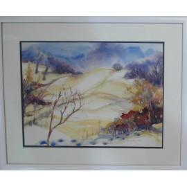 Obraz - Akvarel - Zima na Bikoši - Mgr. Margita Rešovská