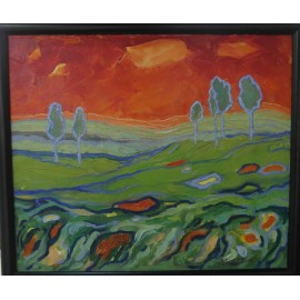 Obraz - olejomaľba - Jozef Onduš - Krajina v červenom