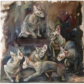 Obraz - Olejomaľba - 6 životov mačier - Igor Navrotskyi