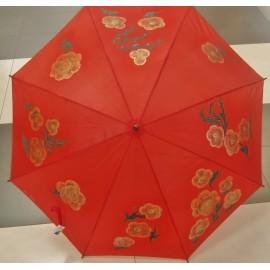 Dáždnik - ručne maľovaný , handmade, červený