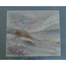 Obraz - Pastel -Vtáky nad krajinou- Jozef Žigraj
