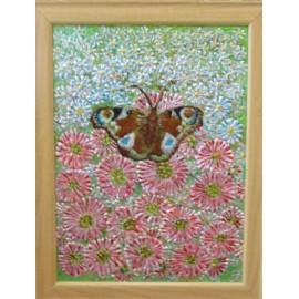 Obraz - Maľba na sklo -Nezábudky s motýľom - Ing. Irena Kijacová