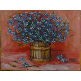 Obraz - Akryl na plátne - Zátišie - kytica modrých kvetov - Viliam Volk