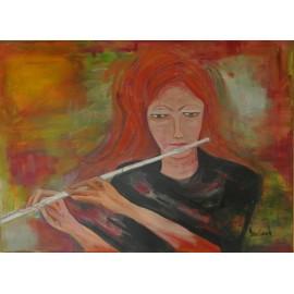 Obraz - Akryl -Flautistka -Ľudmila Bevilaqua