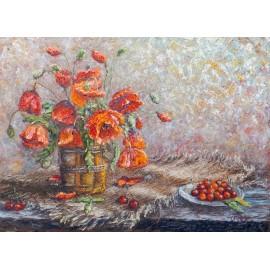 Michal Sabo Balog - Obraz - Olej na plátne-Maky s čerešňami