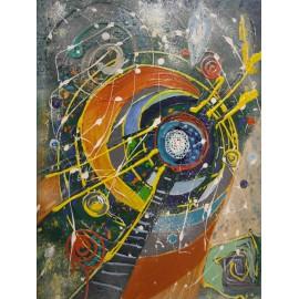 Cesta na mesiac 2. - Ručne maľovaný obraz
