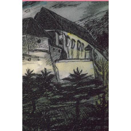Nitriansky hrad večer - ručne maľovaný obraz