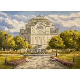 Obraz - akryl na plátne - Štátne divadlo - park - Baňas Matúš