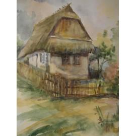 Obraz - Akvarel - Slamený domček - Mária Lenárdová