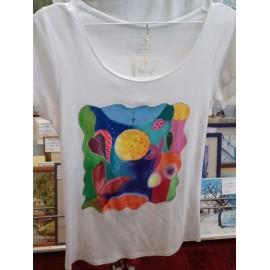 Maľovaný textil-M.Cadre-tričko Abstrakt