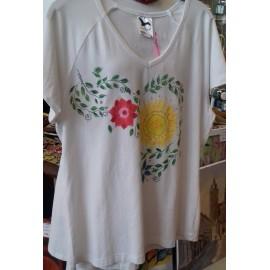 Maľovaný textil-M.Cadre-tričko Slniečkovo slnečnicovo