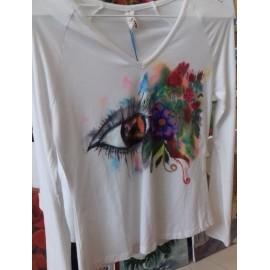Maľovaný textil-M.Cadre-tričko Chcem sa dívať