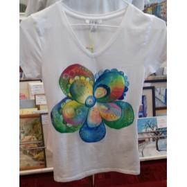 Maľovaný textil-M.Cadre-tričko Dúhový kvet