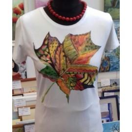 Maľovaný textil-M.Cadre-tričko List
