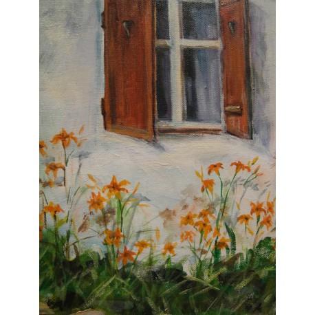 Pod oknom - ručne maľovaný obraz