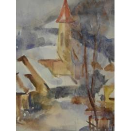 Obraz - Akvarel - Zimná dedinka - Mária Lenárdová