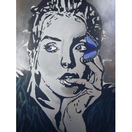 Obraz - Akryl -Žena s motýľom - Bejdová Sára