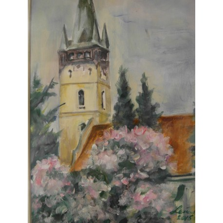 Prešov s Magnoliou - ručne maľovaný obraz