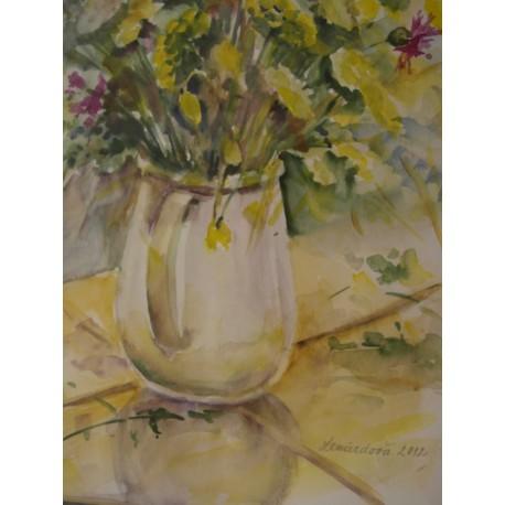 Poľné kvety vo váze - ručne maľovaný obraz