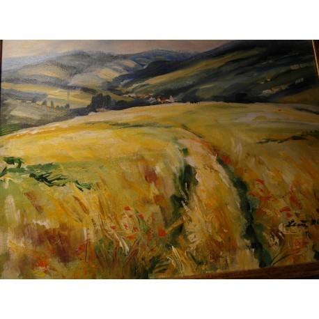 Letná krajinka - ručne maľovaný obraz