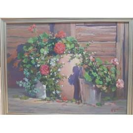 Obraz - Olejomaľba - Kvety v hlinenom džbáne - Akad. mal. Timour Karimov