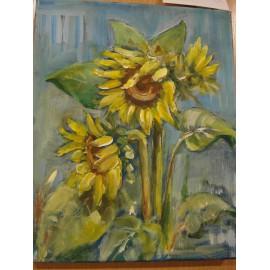 Obraz - Akryl na plátne - Slnečnice v modrom - Mária Lenárdová
