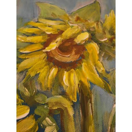 Slnečnice v modrom - ručne maľovaný obraz