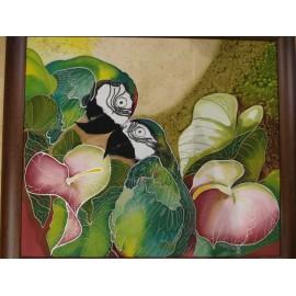 Ručne maľovaný obraz na hodvábe - Bozk