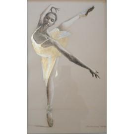 Obraz - pastel - Baletka v zlatom - Ján Radvanský