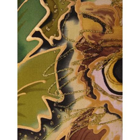 Ručne maľovaný obraz na hodvábe- Sova 2.