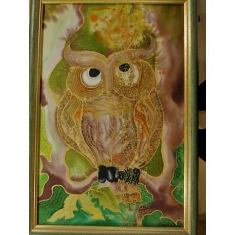 Ručne maľovaný obraz na hodvábe - Sova
