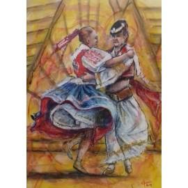 Obraz - Komb. technika - Tancovačka - Mgr. Art. Ľubomír Korenko