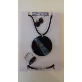 Sada- sklenený prívesok, náušnice, prsteň -Akad. mal.Darina Kopková - Dizajnový sklenený šperk
