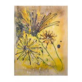 Kvety na lúke - ručne maľovaný obraz