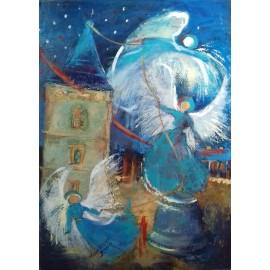Obraz - Akryl - Anjeli ťahajú zvon - Anna Munia
