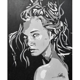 Obraz - Akryl -v zajatí myšlienok - Bejdová Sára