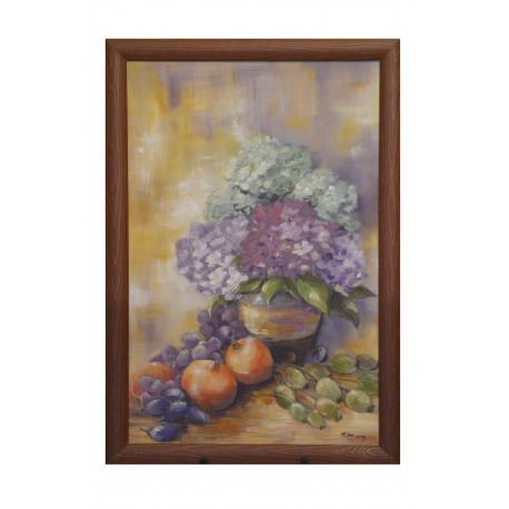 Hortenzie a granátové jablka - ručne maľovaný