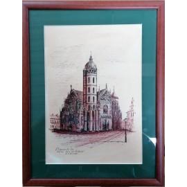Obraz - Košice - Dóm, č.2- Perokresba tušom - Vladimír Semančík