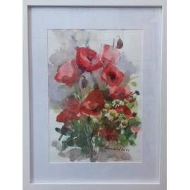 Obraz - Akvarel- Kvety na lúke č.121- Mária Lenárdová