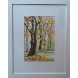 Obraz - Akvarel - Jeseň v mestskom parku v Košiciachnč.120 - Mária Lenárdová